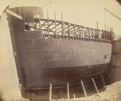 Caisson. Before lowering into groove [Victoria Dock construction, Bombay].